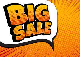 Grande venda em quadrinhos discurso bolha design - vetor