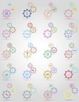 conjunto de ícones informações mecanismo de engrenagem conceito ilustração vetorial