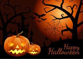 Abóboras de Halloween e castelo escuro no fundo