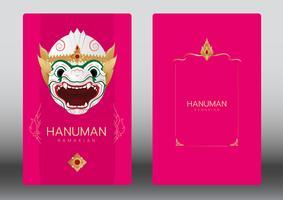 Hanuman, Ramayana, dança de máscara clássica de Tailândia, cartão de convite de luxo