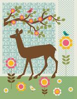 gráfico de cena de veado com padrões e flores