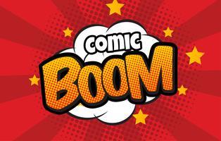 Bomba em estilo pop art e balão de quadrinhos com texto - BOOM! Dinamite dos desenhos animados no fundo com reticulação dos pontos e sunburst.