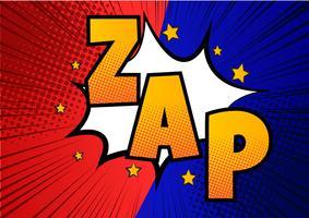 Zap! Explosão em quadrinhos desenhos animados de arte pop.