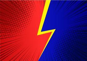 Fundo vermelho e azul de pop art, ilustração de raios em quadrinhos retrô de linha de velocidade - vetor
