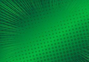 Fundo verde pop art, ilustração de raios cômico retrô de linha de velocidade - vetor