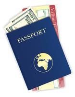 passaporte com dinheiro e ilustração vetorial de bilhete de avião