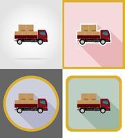 ilustração em vetor ícones plana veículo de entrega