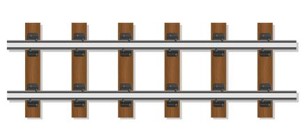 trilhos ferroviários e travessas de madeira vector illustration