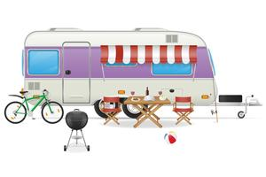ilustração em vetor trailer acampamento caravana