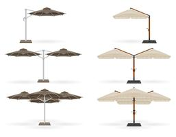grande guarda-sol para bares e cafés no terraço ou a ilustração vetorial de praia