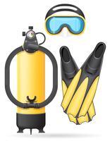 tubo de máscara de aqualung e nadadeiras para ilustração vetorial de mergulho