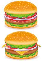 ilustração em vetor hambúrguer e cheeseburguer