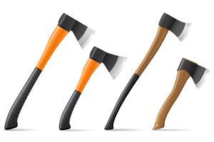 machado de ferramenta com ilustração vetorial de punho de madeira e plástico vetor