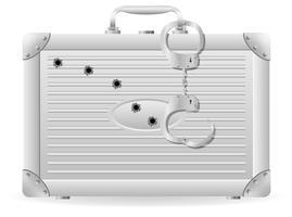 mala de metal com algemas crivada de ilustração vetorial de balas