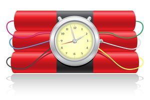 dinamite explosiva e ilustração em vetor de um relógio