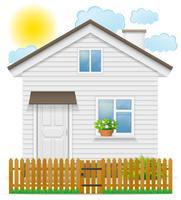 pequena casa de campo com uma ilustração do vetor de cerca de madeira