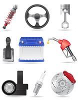 conjunto de ícones de ilustração vetorial de peças de carro