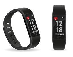 pulseira de relógio de fitness digital inteligente com ilustração em vetor de estoque touchscreen