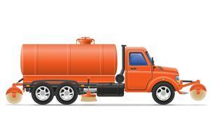 caminhão de carga, limpeza e rega a ilustração vetorial de estrada vetor