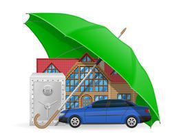 conceito de seguro protegida ilustração vetorial de guarda-chuva