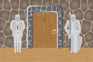 cavaleiros na porta de guarda do castelo
