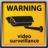 sinal de aviso de câmera de vigilância