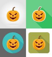 ilustração em vetor ícones plana de abóbora de halloween