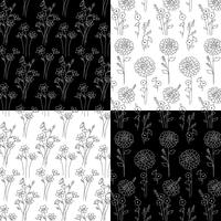 mão preto e branco desenhado padrões botânicos