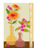 colocação de gráfico vetorial de flores cor de rosa e laranja vetor