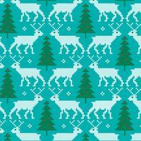 padrão bordado de renas e árvores