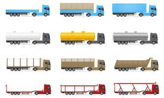conjunto de ícones caminhões semi reboque ilustração vetorial vetor
