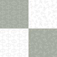 padrões florais botânicos cinzento e branco