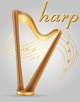 harpa musical instruments stock vector illustration