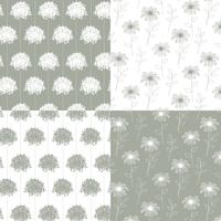 mão branca e cinza desenhada padrões florais botânicos vetor