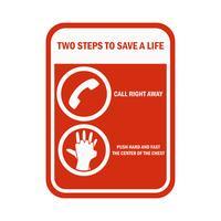 Sinal e símbolo da ressuscitação cardiopulmonar do CPR vetor