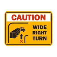 aviso de cuidado para lidar com o seu veículo de empilhadeira em sua indústria, símbolo de sinal