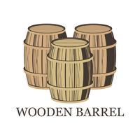 barril de madeira isolado no fundo branco vetor