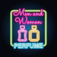 fragrância do perfume dos homens e das mulheres com efeito do sinal de néon vetor