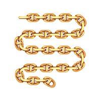 pulseira de correntes de ouro isolada no fundo branco vetor