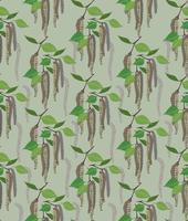 folhas padrão sem emenda. Fundo floral da folha do vidoeiro da mola. vetor