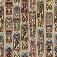 Padrão sem emenda étnica, estilo tribal. Máscara africana de fundo em mosaico.