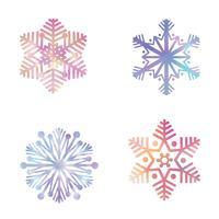 Conjunto de floco de neve. Ícones de neve. Sinal de férias de inverno. Símbolos de natal