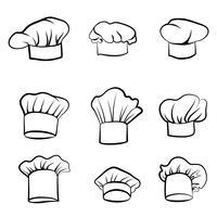 Chapéu de cozinheiro Cozinheiro de chef de chapéu desenhado. Conjunto de chef-fogão de chapéu. Sinais de cozinha vetor