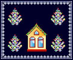 Casa decorada para o Natal vetor
