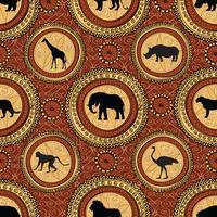 Padrão sem emenda étnica africana. Abstrato com animais.
