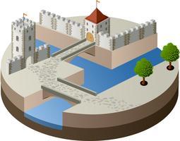 Vista em perspectiva de um castelo medieval