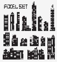 edifícios de pixel vetor