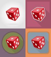 ilustração em vetor ícones plana cubo dados casino