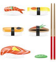 sushi conjunto de ilustração em vetor ícones