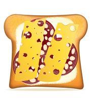 ilustração de vetor de salsicha e queijo torradas com manteiga